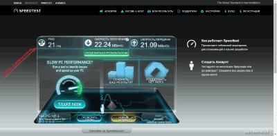 Скорость Интернета на SpeedTest.net