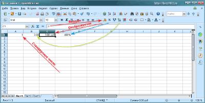 Кнопки смены типа данных в OpenOffice Calc